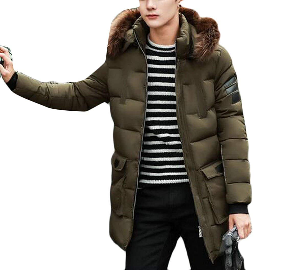 XQS Mens Winter Coat Warm Faux Fur Lined Hoodie Jacket Outwears