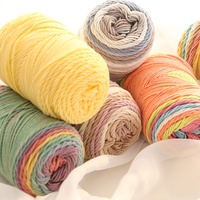 Gradient color cotton and acrylic blended rainbow cake yarn for hand knitting and crochet