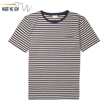 Custom Men's Striped Cotton Linen-Blend T-Shirt With Pocket
