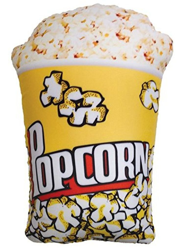 """iscream Snack Shack Scented Photoreal Popcorn Tub 18"""" Microbead Accent Pillow"""