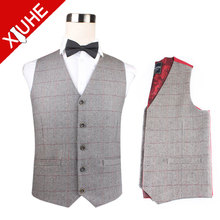Mens boys Fashion polyester paisley new design casual plaid vest