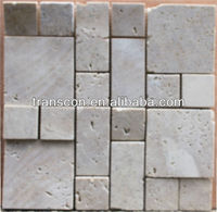 3d travertine white stone mosaic art tile SM106