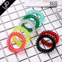 Wholesale Transparent Telephone Cord elastic Hair Tie children hair accessories line ponytail holders