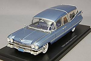 Cadillac S&S Superior, metallic-blue, Hearse, 1959, Model Car, Ready-made, Neo 1:43