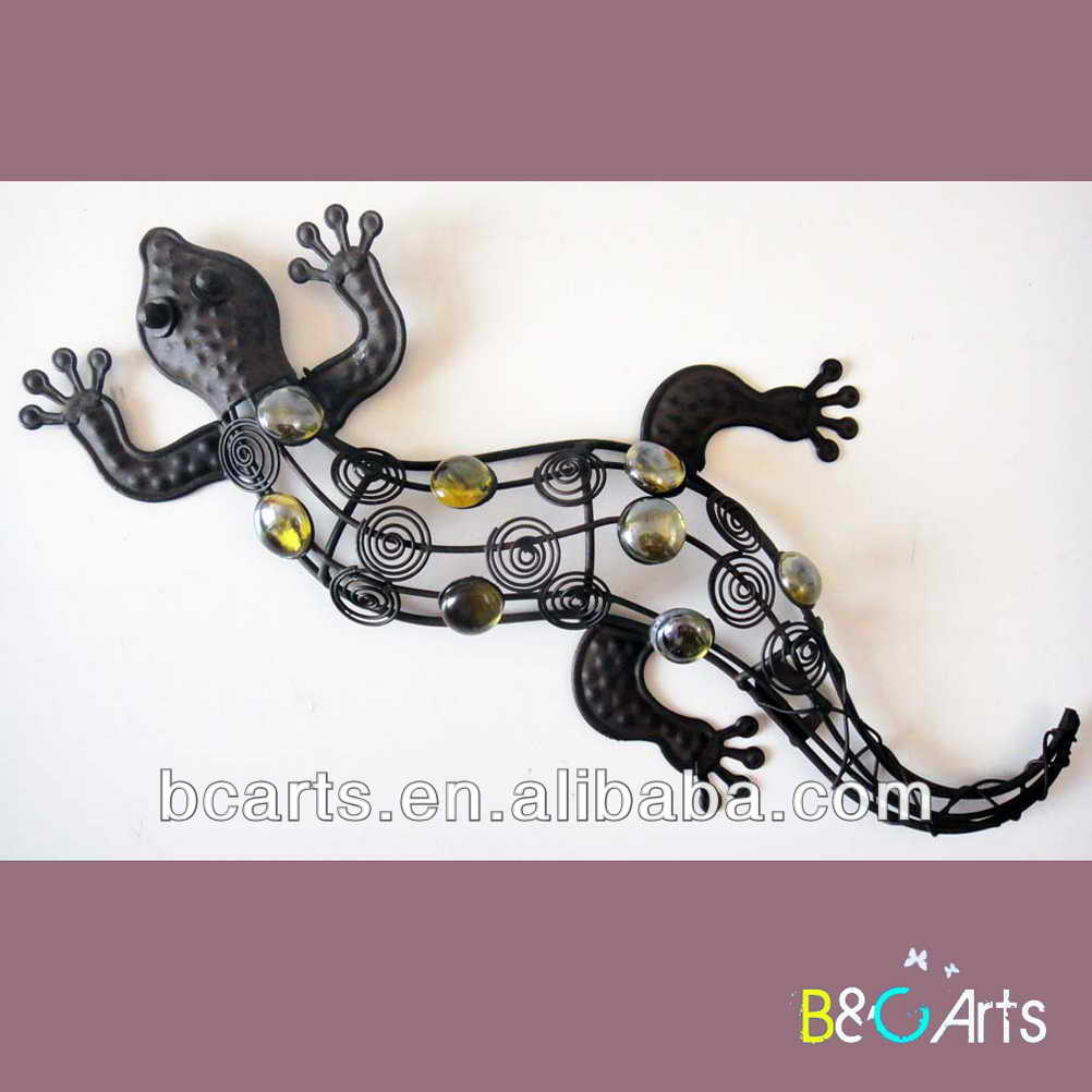 Good quality home decorative gecko metal wall art decor, Special metal animal art for home decoration