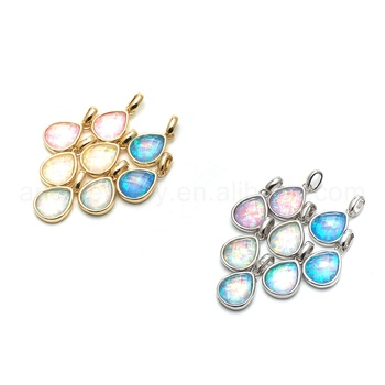 ANDE-P1009 Multi Color Natural Raw Opal Pendant Gold Silver Plated Opal Jewelry Teardrop Shape Opal Necklace