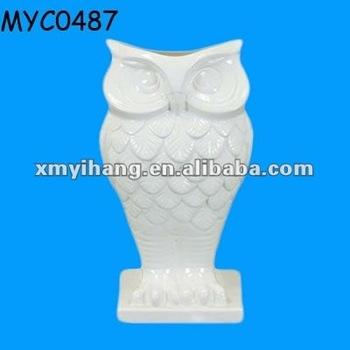 White Ceramic Owl Flower Pot