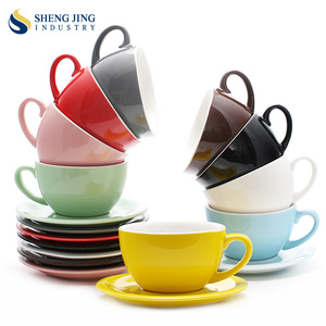 Thick Microwave Porcelain Tea Set 180ml 250ml 300ml Coffee Colored Cup And Saucer