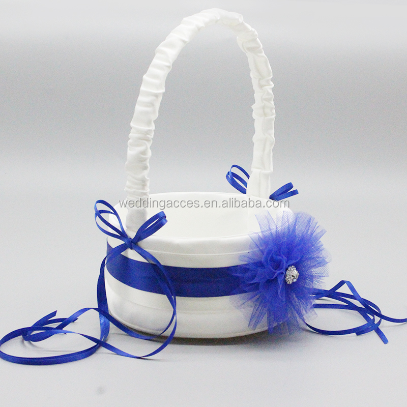 M4643-1IY wed flower girl basket white satin flower girl basket