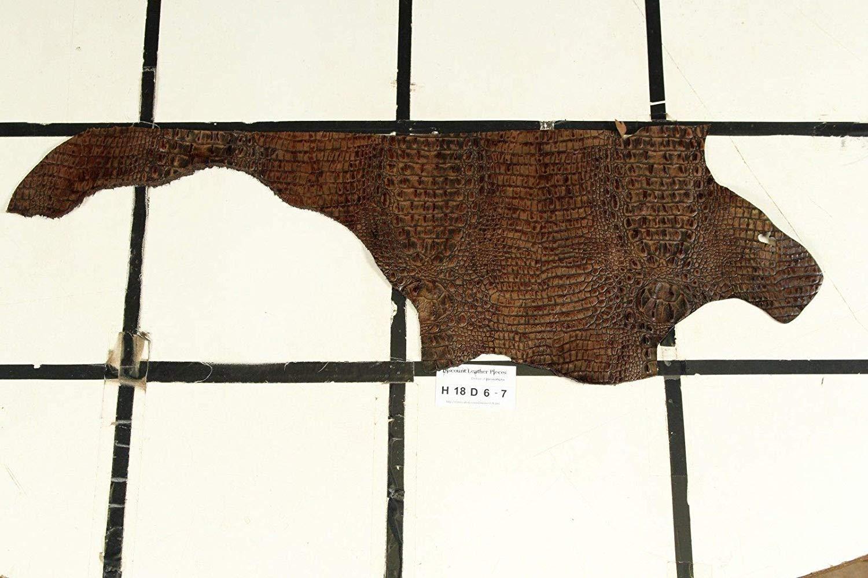 JUST IN! Brown Bailey's CROC Print Scrap Leather Hide Approx. 1.5 sqft. H18D6-7