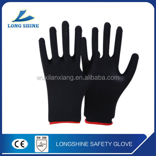 Best Selling Nylon Gloves Liner Black Foam Nitrile Coated Oil Resistant Working Gloves with CE Certification