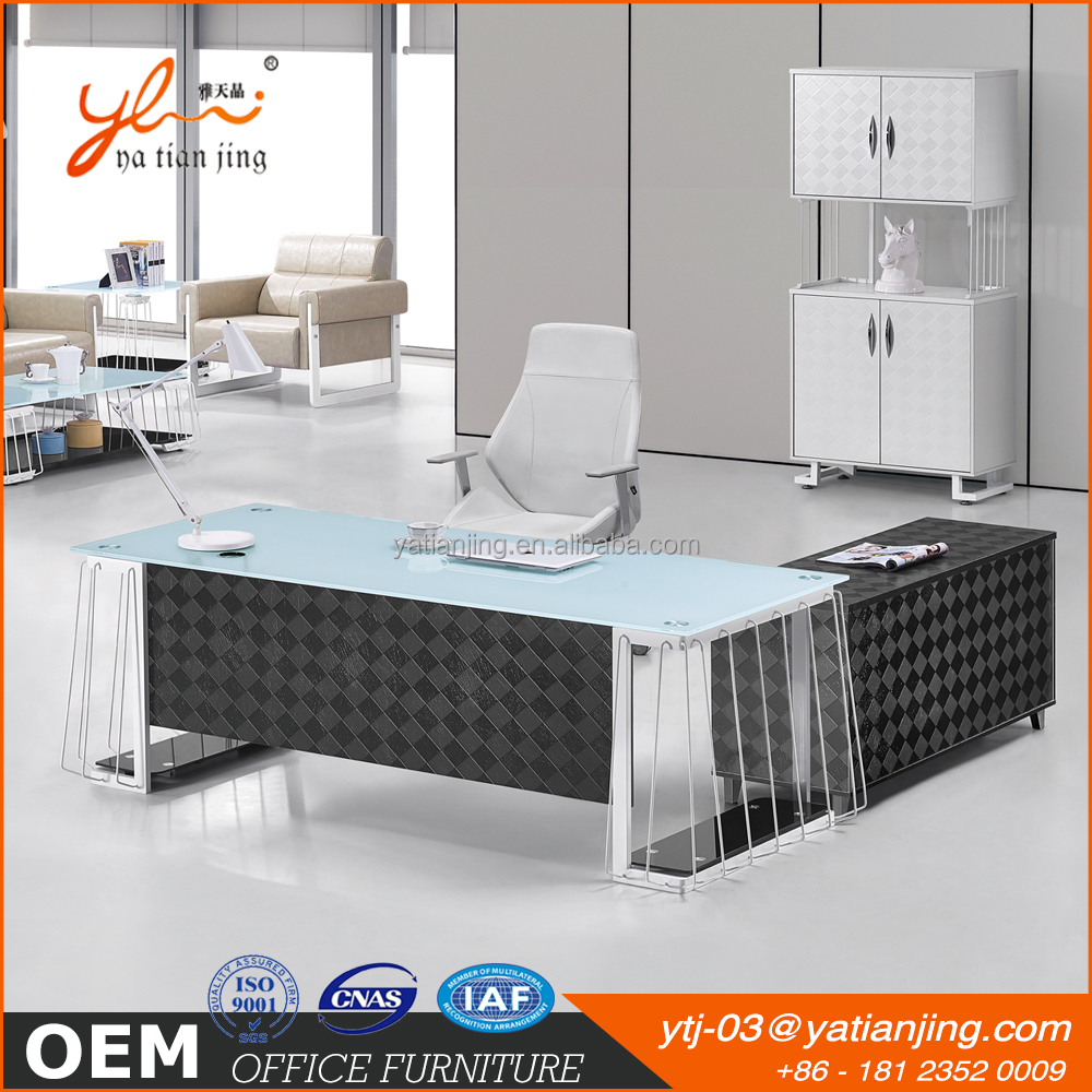 Hot sell modern executive office desk Tempered glass top woden computer desk with drawer Steel office table with MDF cabinet