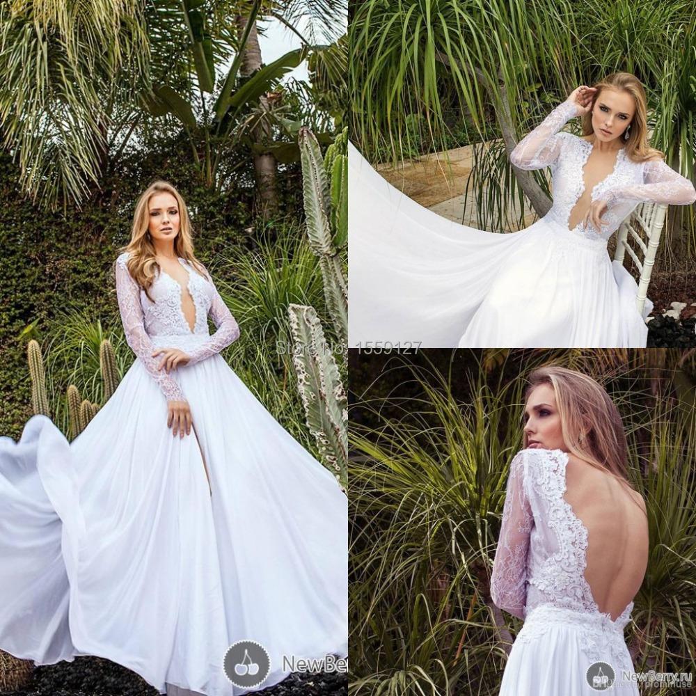 Graceful Sheath Wedding Dresses 2015 Summer A Line V Neck: 2015 Summer Beach Wedding Dresses White Long Sleeves