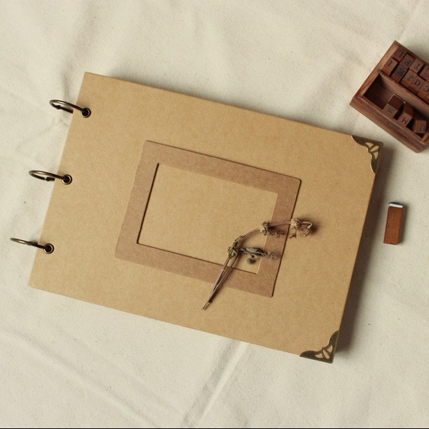 A4 Size Kraft Paper Cover 3 Ring Binder DIY Handmade Photo Album With  Frame, View diy handmade photo album, DeZheng Product Details from  Guangzhou