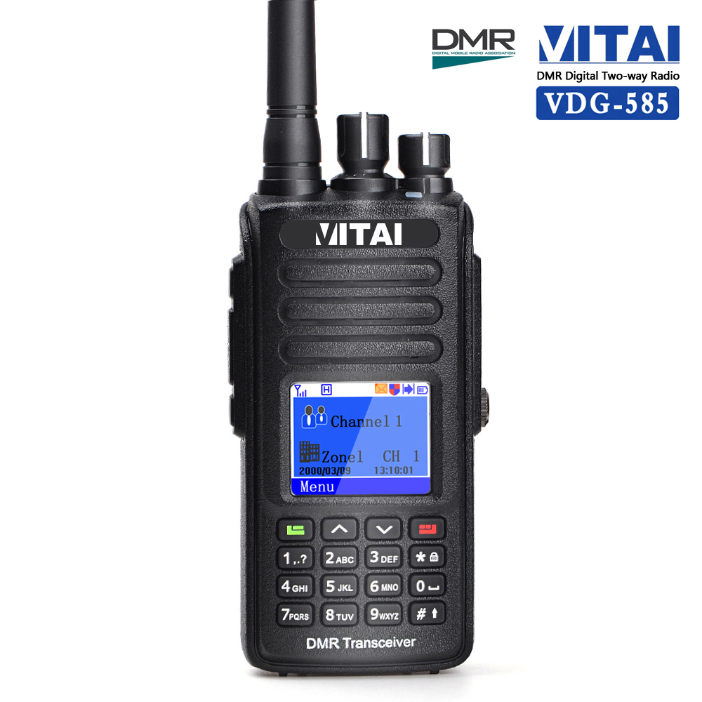 VITAI VDG-585 VHF 136-174Mhz UHF 400-480Mhz 5W Full-Duplex GPS Function IP67 Waterproof DMR Digital Walkie Talkie