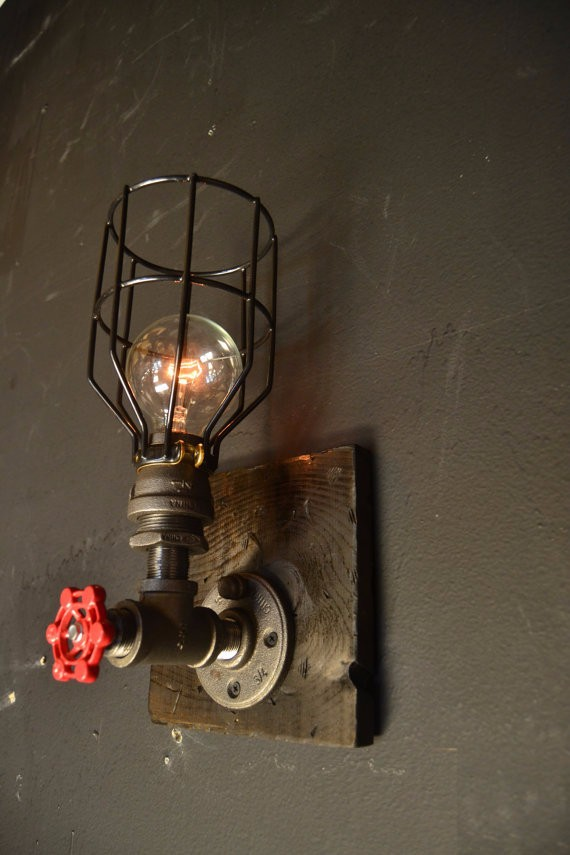 15 steampunk luminaire bois applique murale - Lampe murale industrielle ...