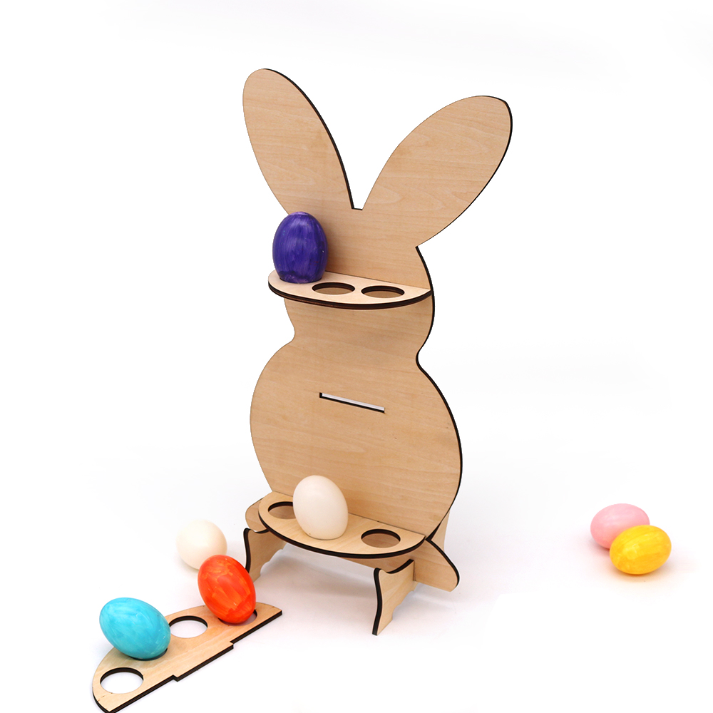BSCI new design wooden egg holder with <strong>rabbit</strong>