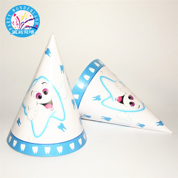 Paper Craft Party Hats Blue Cute Tooth Cartoon Patterns For Your