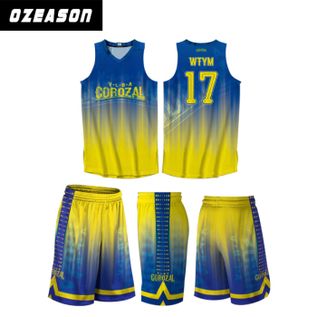 dac95fffb22 New style basketball jersey uniform design color blue and yellow, wholesale  blank basketball jerseys for