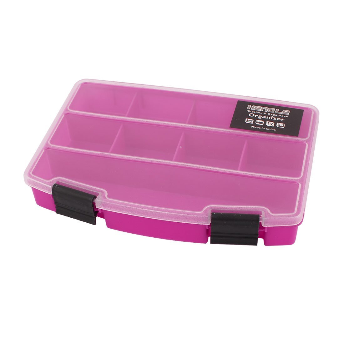 Aexit Plastic 9 Tool Organizers Slots Electronic Components Storage Box Tool Boxes Organizer Fuchsia