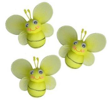 2inch Mini Yellow Nylon Honey Bee For Garden Home Decoration