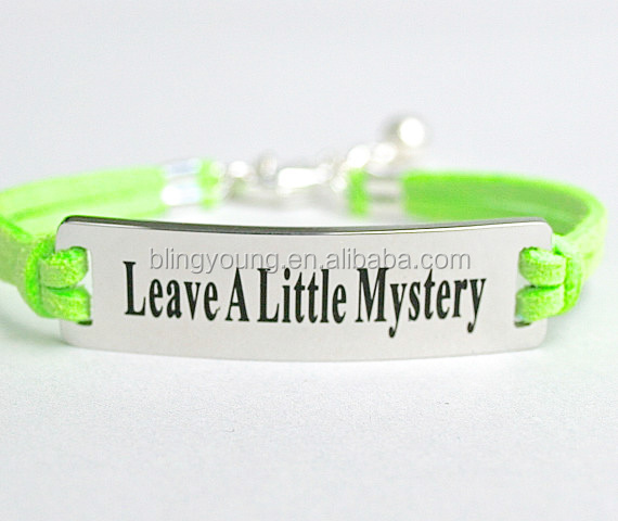 Custom jewelry Leave A Little Mystery metal charm bar bracelet