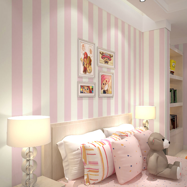Pink stripe wall paper for walls vertical striped - Pink and white striped wallpaper bedroom ...