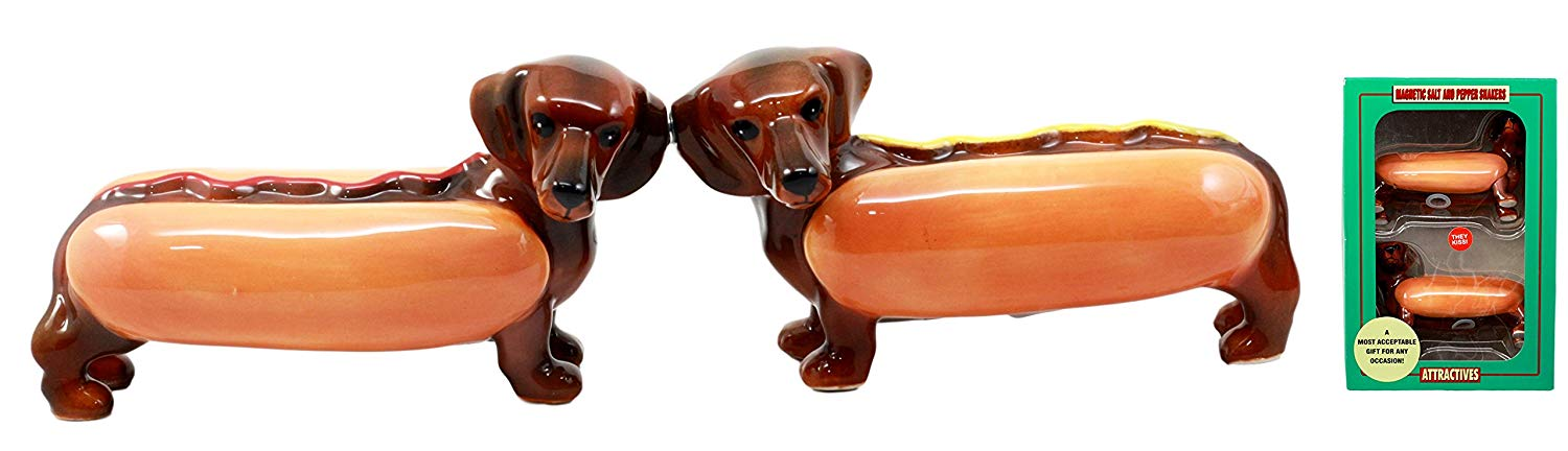 """Ebros Doxies Collection Hot Dog Sausage Wiener Dachshunds Salt And Pepper Shakers Ceramic Magnetic Figurine Set 4.75""""L"""