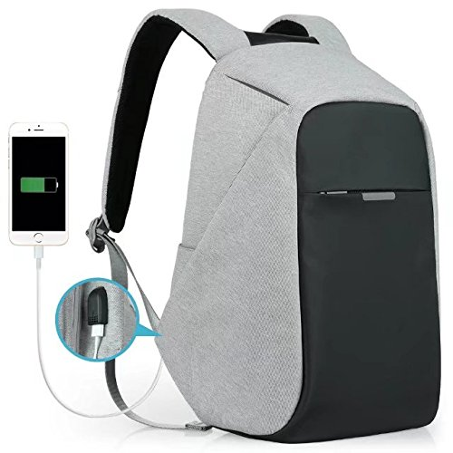 Anti-theft Travel Backpack Business Laptop Book School Bag with USB Charging Port for College Student Work Men & Women