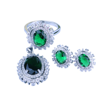 Green color wholesale 925 silver wedding dress 물 drop jewelry set 대 한 women