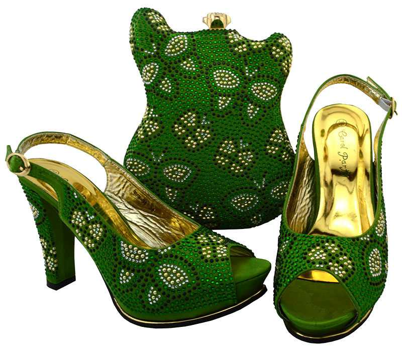 AB8463#4 Newest High Heel Italian Matching Shoes and Bag with beads in water green