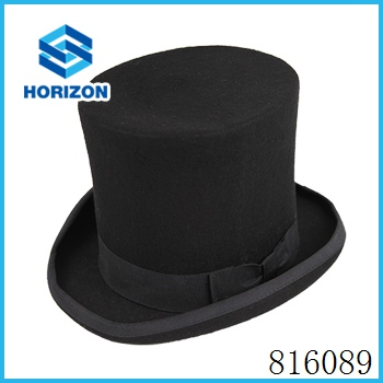 OEM and ODM service classic male gentlemen spring handmade wool felt open top hat with bowknot