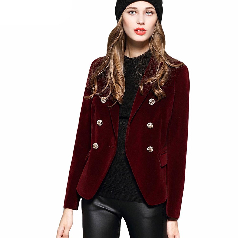8d7a2560a4f5a Get Quotations · Women s Sport Coats   Blazers Long Sleeve Golden Button  Slim Lady Velvet Jackets and Coats