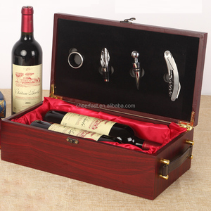 Combo set with accessories wine bottle wooden gift box