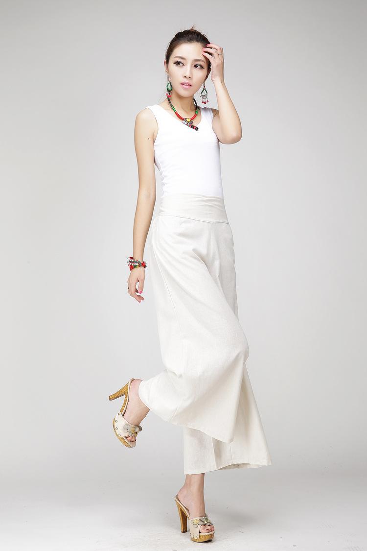 f3fd5ab3591 2019 Wide Leg Pants Women White Linen Cotton Trousers Plus Size Black Dress  Pants Long Casual Drawstring Trousers Loose L Harem Pant From  Amybabyclothes