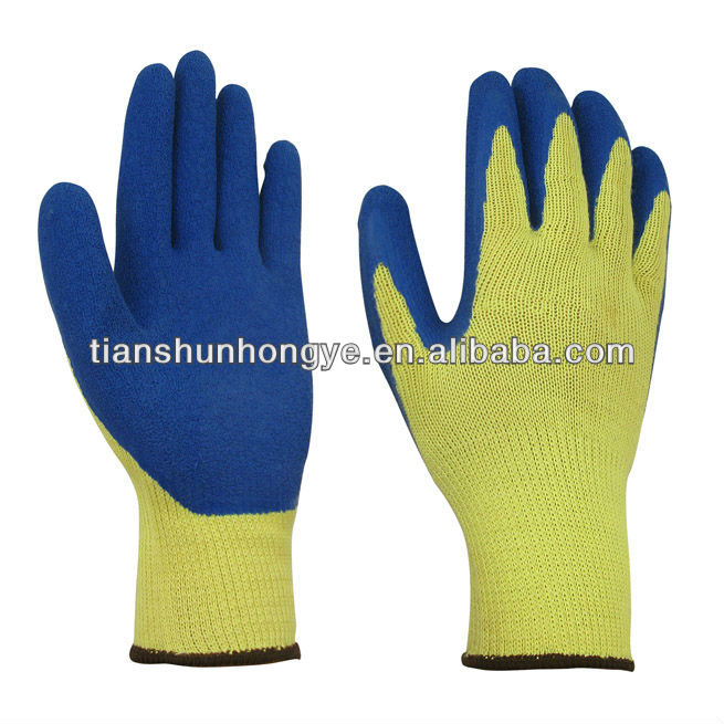 Latex coating over knit cotton liner insulating gloves