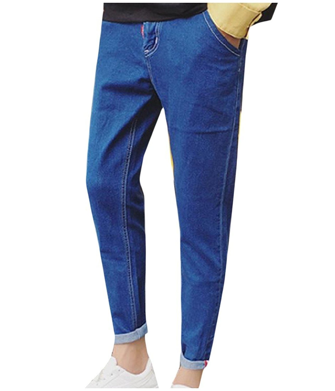 Coolred-Men Classic Solid-Colored Button-up Tapered Skinny-Fit Jean