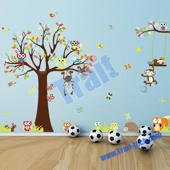 Colorized Owls Wall Sticker And Tree Wall Decoration Baby Room Wall Stickers Part 78