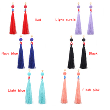 Custom made silk thread tassel earring long earrings indian jhumka