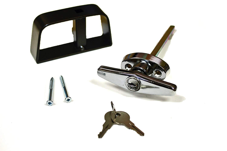 "Doors & Door Hardware 5-1/2"" Chrome T Handle Door Lock Set - For shed, gate, playhouse and more"