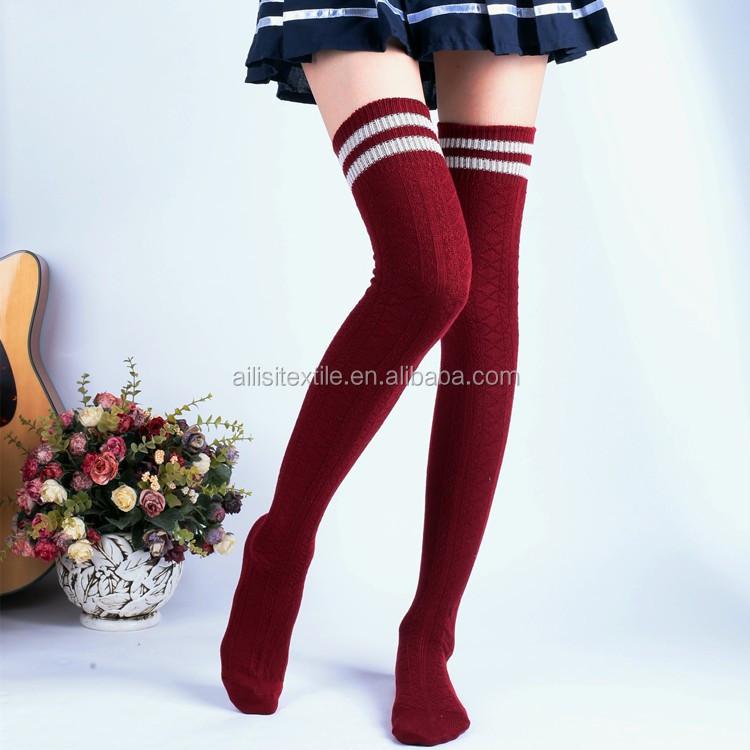 70fc13fbaea Cotton Knee-high Stockings More Coarse Needle Cotton High Leg Socks To Keep  Warm - Buy Flag Socks