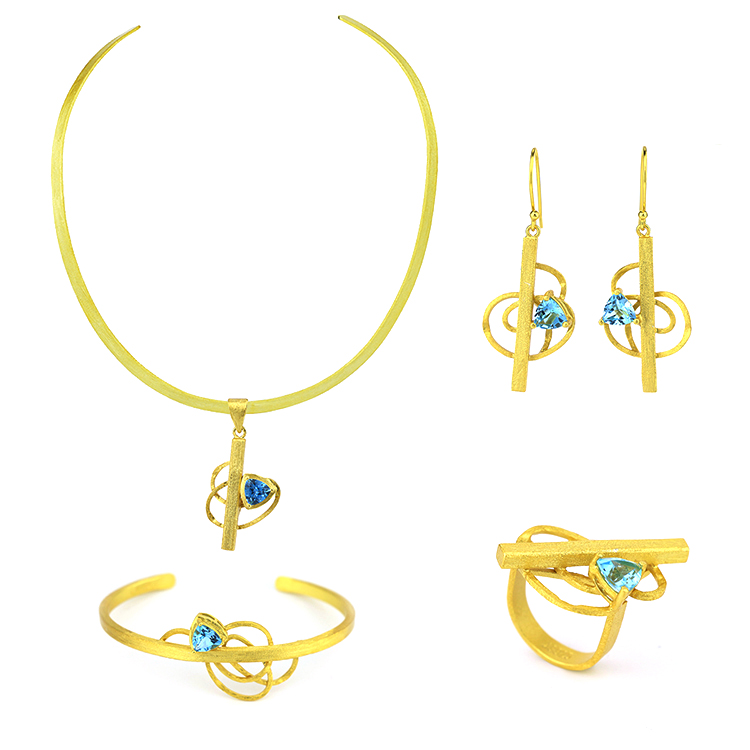 bracelet necklace and ring Gold plated jewelry set earrings