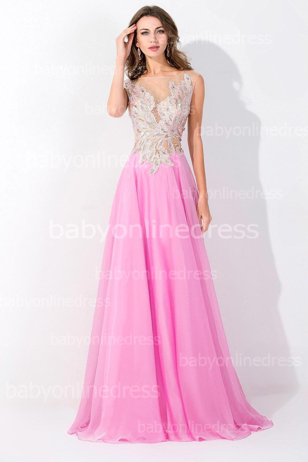 5a6ff979f2 Get Quotations · Custom-made Babyonline Real Sample A Line Sexy See Through  Neck Embroidery Bodice Light Pink