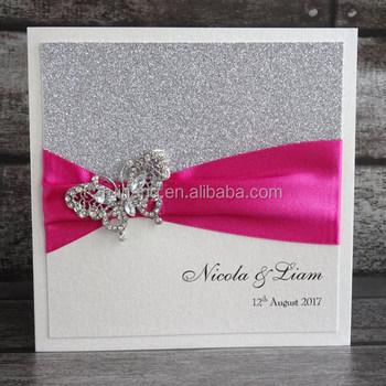 Glitter Paper Butterfly Brooch Luxury Handmade Fuchsia Pink Wedding