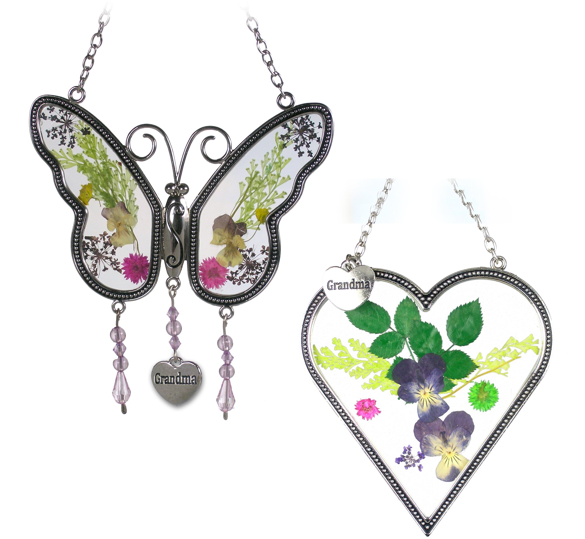 BANBERRY DESIGNS Grandma Gifts - Grandma Butterfly - Heart Sun Catcher with Grandmother Charm - Combo Pack of Pressed Flower Suncatchers - Gifts for Grandma