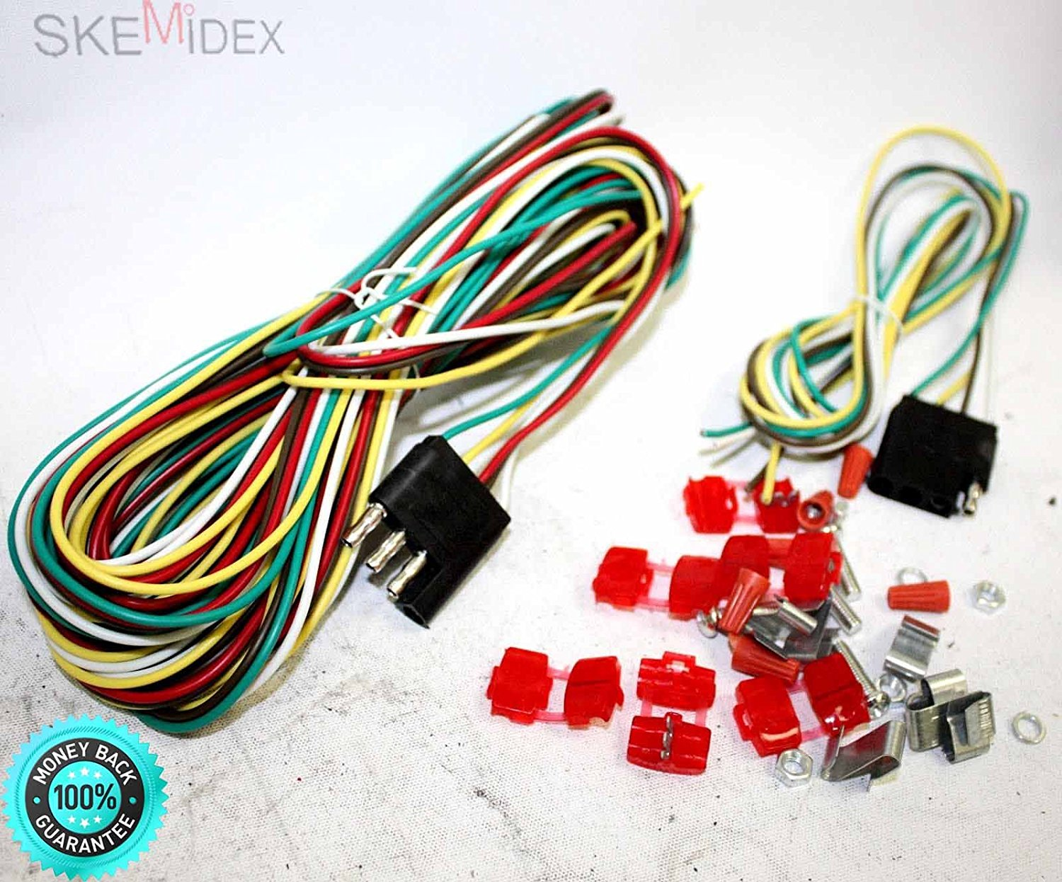 get quotations � skemidex--- 25ft 4 way trailer wiring connection kit flat  wire extension harness 4