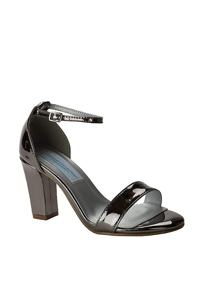 80e4e659bc33 Get Quotations · David s Bridal Patent Ankle-Strap Block Heel Sandals Style  Maddox