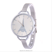 Hot style romantic Eiffel Tower dial watch slim steel quartz watch