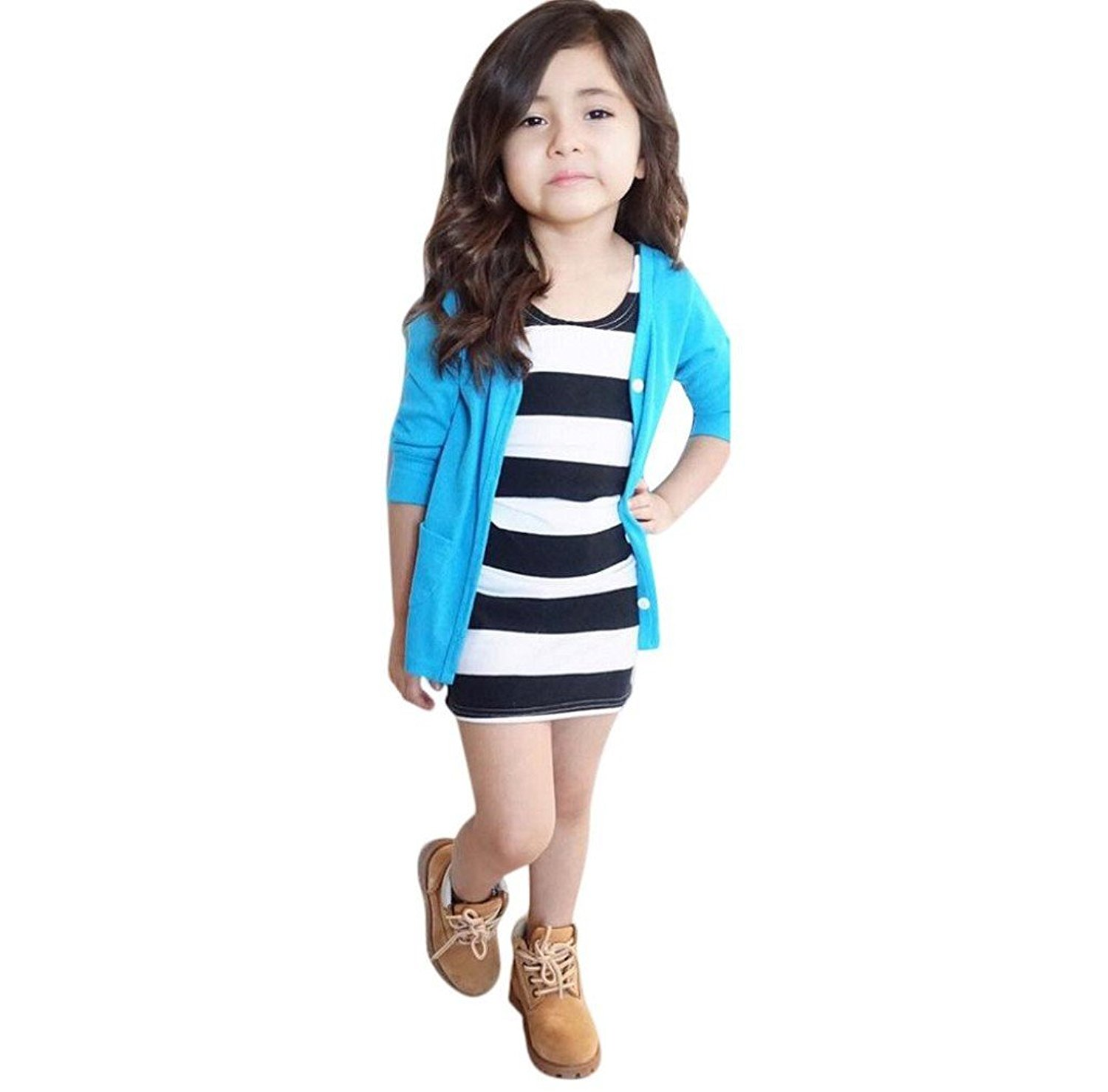 Morecome 1Set Kids Girls Long Sleeve T-Shirt Coat Tops&Dress Clothes Outfits