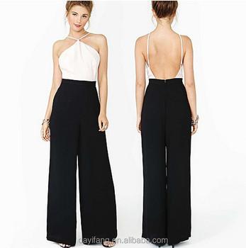 3d10fa22ea Verano desgaste backless playsuit nuevo vestido sin tirantes atractivo  pantalones sueltos dos colores gasa Noche Anual